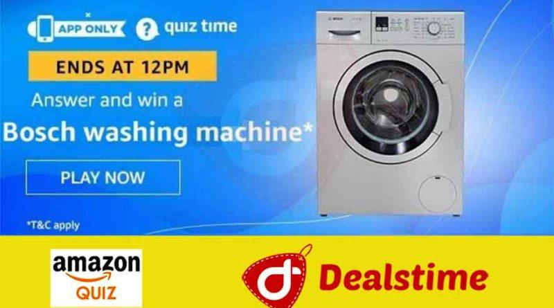 Amazon Quiz Answers & Win Bosch Washing Machine