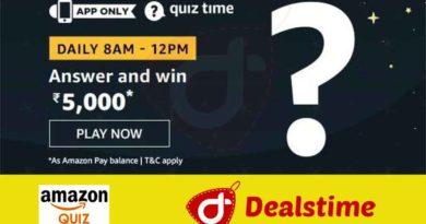 Amazon Quiz Answers & Win Rs.5000